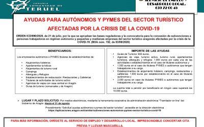 AYUDAS PARA AUTONOMOS Y PYMES DEL SECTOR TURISTICO AFECTADAS POR LA CRISIS DE LA COVID-19