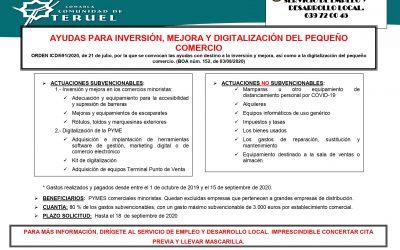 AYUDAS PARA INVERSIÓN, MEJORA Y DIGITALIZACIÓN DEL PEQUEÑO COMERCIO