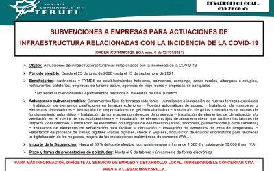 SUBVENCIONES A EMPRESAS PARA ACTUACIONES DE INFRAESTRUCTURA (COVID 19)