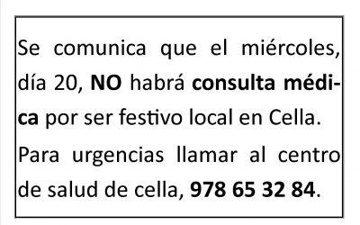 CERRADO CONSULTORIO MEDICO DIA 20 DE ENERO DE 2021