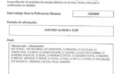 Interrupción suministro eléctrico VILLARQUEMADO