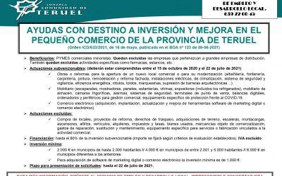 AYUDAS CON DESTINO A INVERSIÓN Y MEJORA EN EL PEQUEÑO COMERCIO