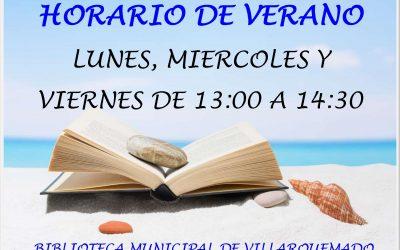 HORARIO DE VERANO-BIBLIOTECA DE VILLARQUEMADO