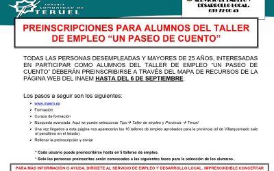 PREINSCRIPCIONES PARA ALUMNOS DEL TALLER DE EMPLEO VILLARQUEMADO