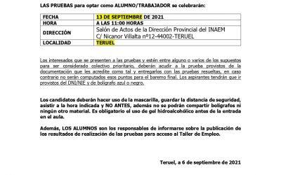 PRUEBA DE CONOCIMIENTOS-TALLER DE EMPLEO VILLARQUEMADO
