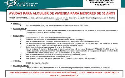 AYUDAS PARA ALQUILER DE VIVIENDA PARA MENORES DE 35 AÑOS